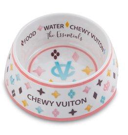 Haute Diggity Chewy Vuiton Dog Bowl White