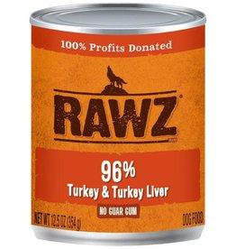 Rawz Rawz Dog Can Grain Free 96% Turkey & Liver Pate 12.5 oz