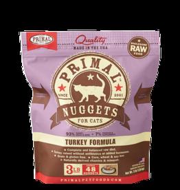 Primal Primal Turkey Formula Nuggets Grain-Free Raw Frozen Cat Food 3 LB