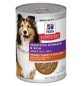 Hill's Science Pet Hill's Science Diet Adult Sensitive Stomach & Skin Tender Turkey & Rice Stew Dog Food