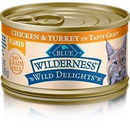 Blue Buffalo Blue Buffalo Wilderness Wild Delights Flaked Adult Cat Food - Grain Free, Chicken & Turkey 3 oz