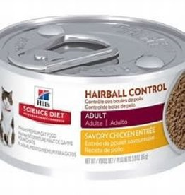Hill's Science Pet Science Diet Cat Food, Premium, Hairball Control, Adult 1-6, Minced, Savory