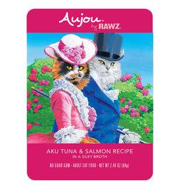 Rawz Rawz Cat Pouch GF Aujou Aku Tuna & Salmon 2.46 oz 8/Tray