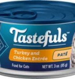 Blue Buffalo Blue Buffalo Cat  TASTEFULS PATE TURKEY CHI CKN ENTREE 3oz/12