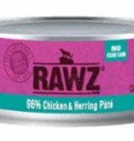 Rawz Rawz Cat Can GF 96% Chicken & Herring Pate' 5.5 oz 24/Case