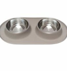Messy Mutts Messy Mutts Feeder Silicone with SS Bowls Double Diner Medium Grey 1.5 Cup