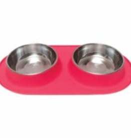 Messy Mutts Messy Mutts Feeder Silicone with SS Bowls Double Diner Medium Melon 1.5 Cup