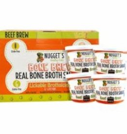 Nuggets Healthy Eats NUGGET'S HEALTHY EATS DOG CAT FROZEN BEEF BONE BROTH 4OZ 4 PACK