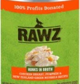 Rawz Rawz Hunks Recipe Canned Dog Food 14oz - Chicken Breast, Pumpkin & New Zealand Green Mussels