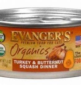 Evanger's Evangers 5.5 oz Cat Can Organic Turk Butternut Squash Grain Free