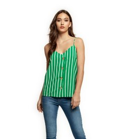 Dex Green and White Striped Button Down Tank