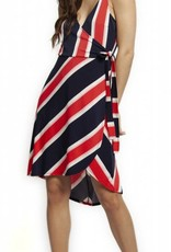 Dex Blue Red and White Striped Dress