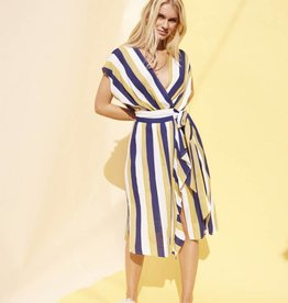 Mink Pink Striped Faux Wrap Dress
