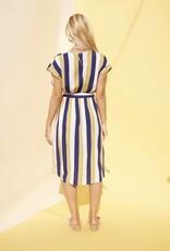 Mink Pink Striped Faux Wrap Dress