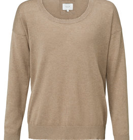 Yaya Raw Edge Beige Sweater