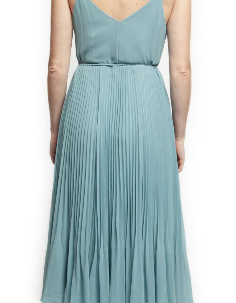 Black Tape Pleated Skirt Dress