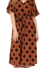Dex Caramel Polka Dot Dress