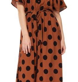 Dex Caramel Polka Dot Dress
