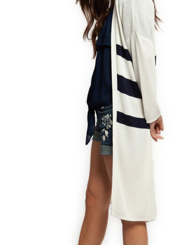 Dex Long Cardigan w/ Stripes