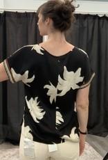 Yaya Black Floral Printed Top
