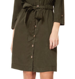 Dex Button Down Shirt Dress Green