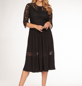 Dex Black Lace Pleated Dress