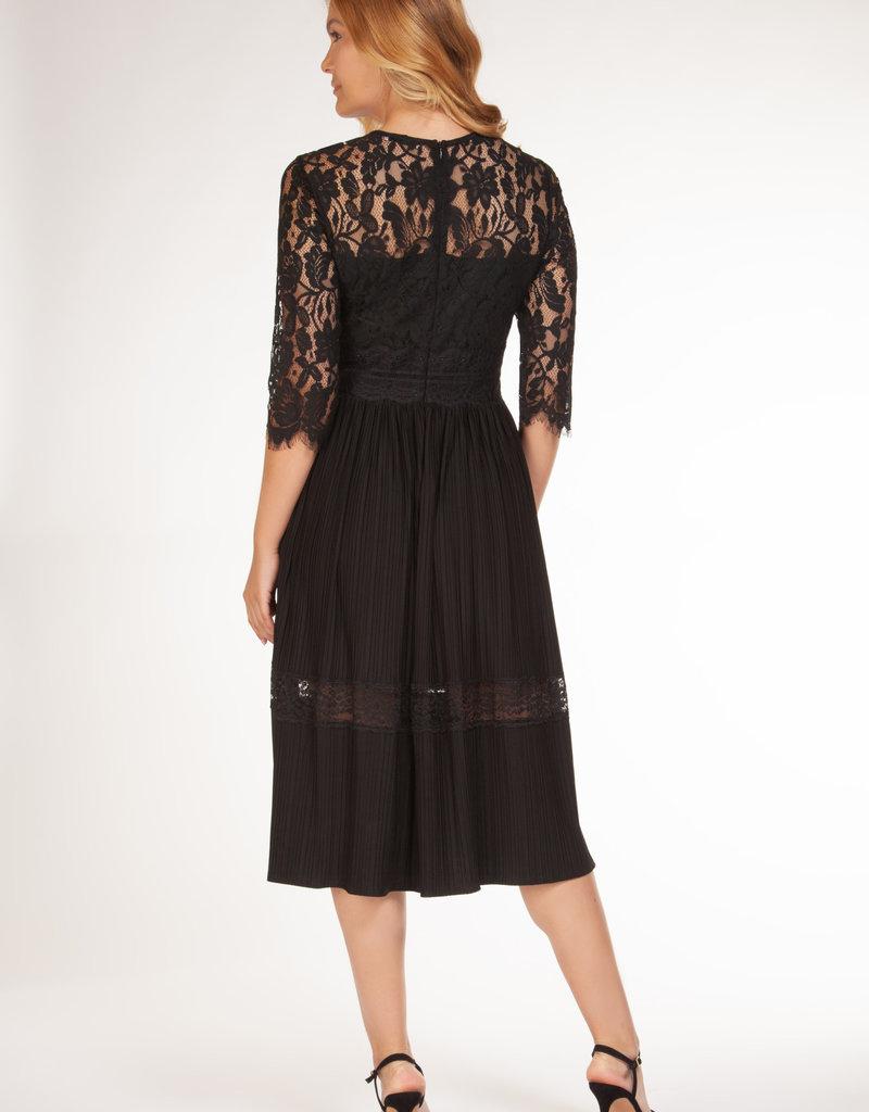 Dex Black Lace Pleated Dress