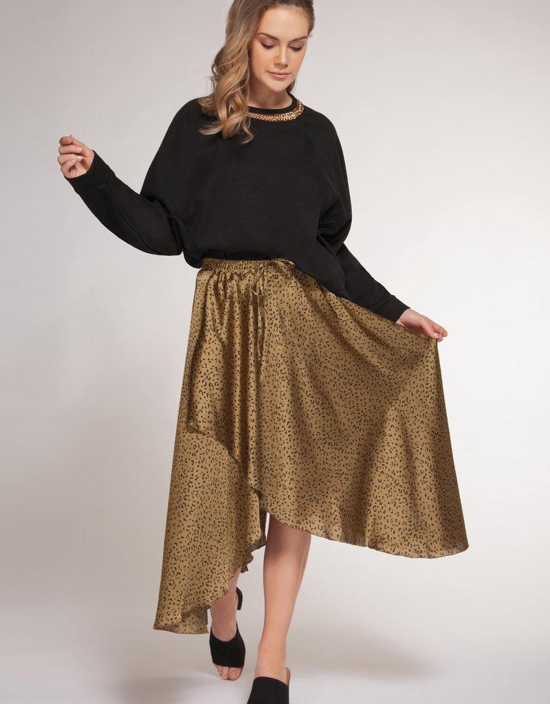 Dex Khaki Leopard Print Skirt