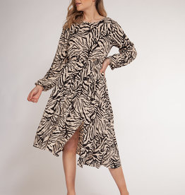 Dex Taupe/Black Asymmetrical Dress