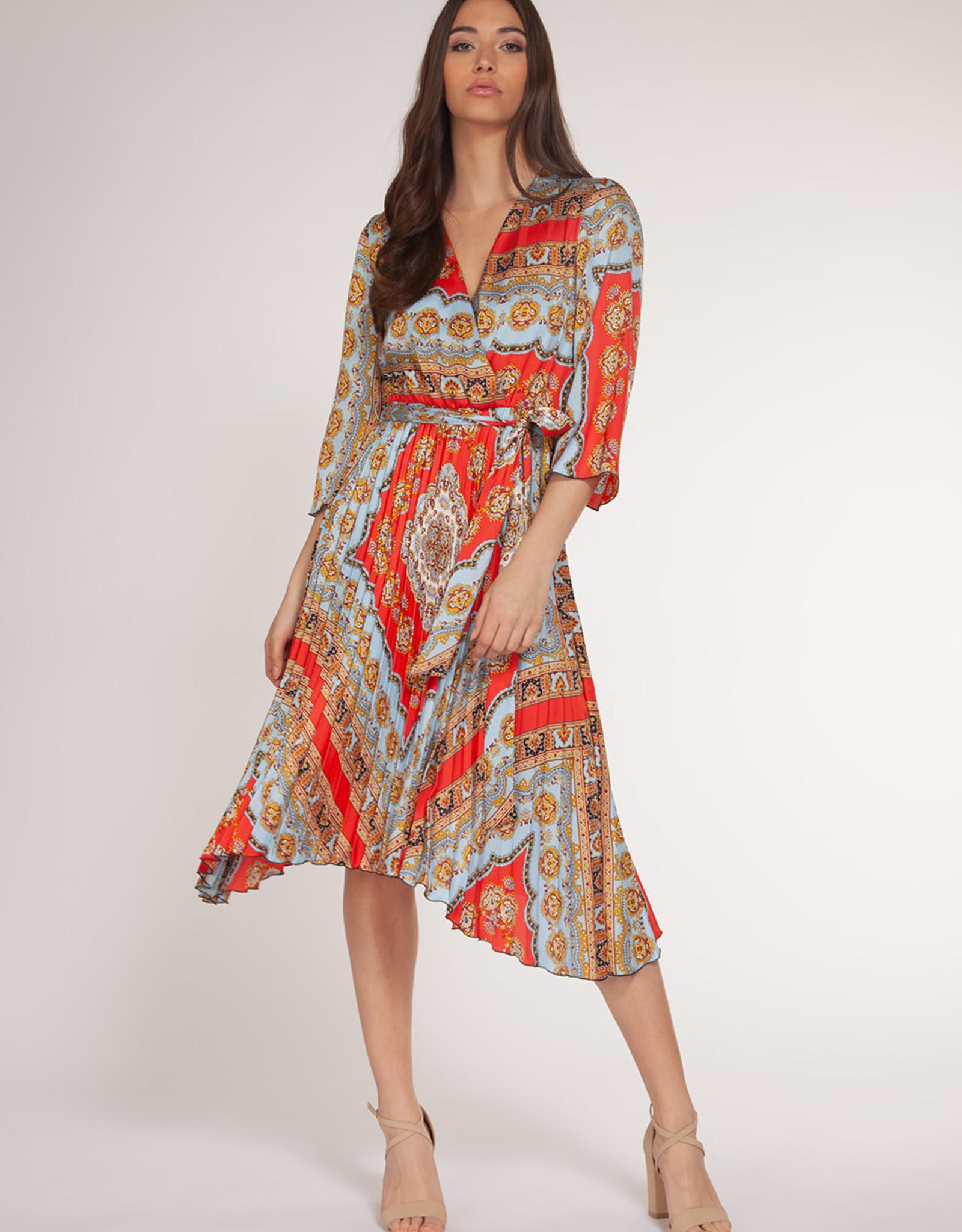 Dex Coral/Blue Chain Print Dress