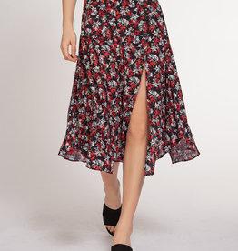 Dex Red Bouquet Print Skirt