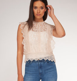 Black Tape Pink Lace Top