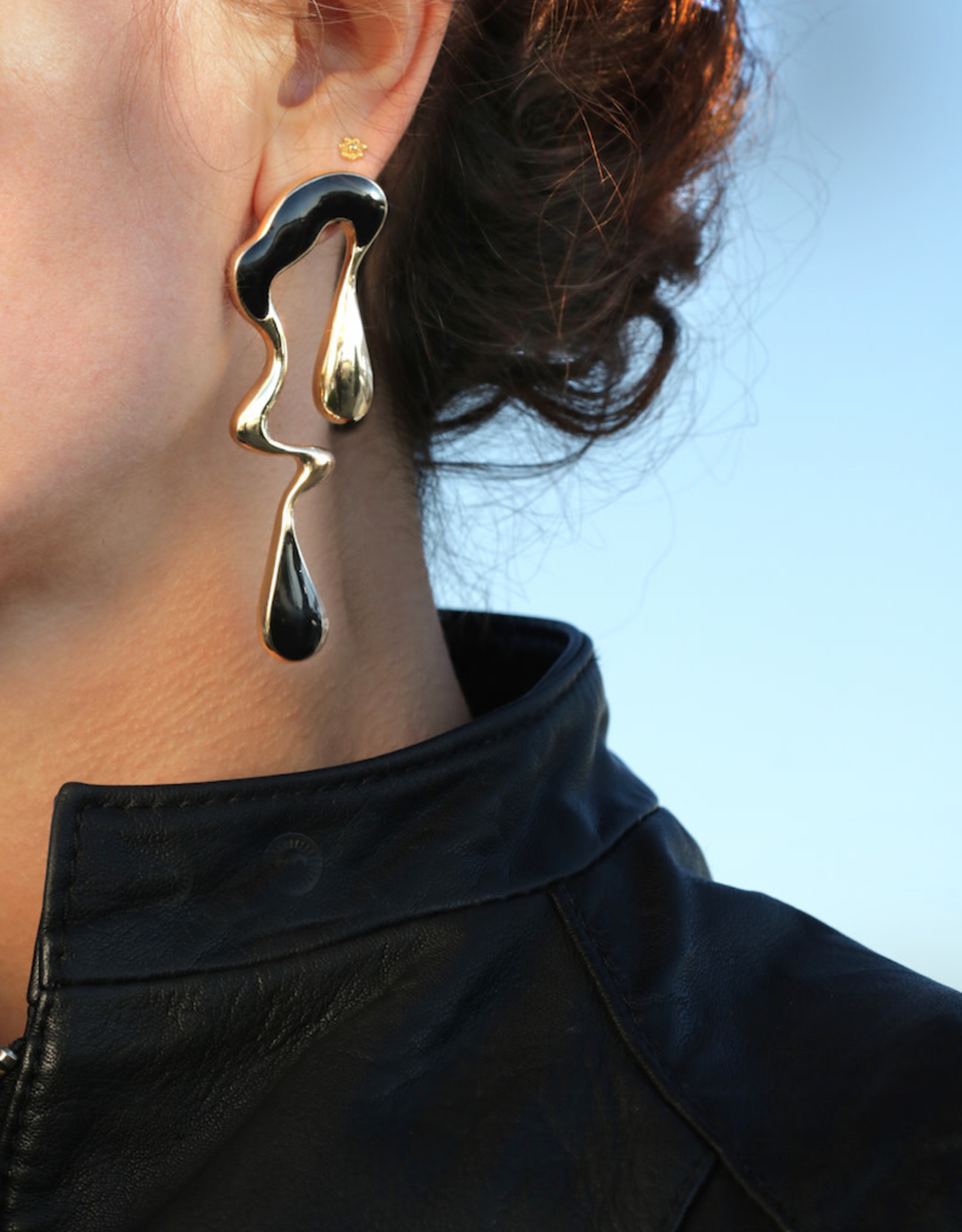 Lakoo Designs Gold Black Melt Earrings