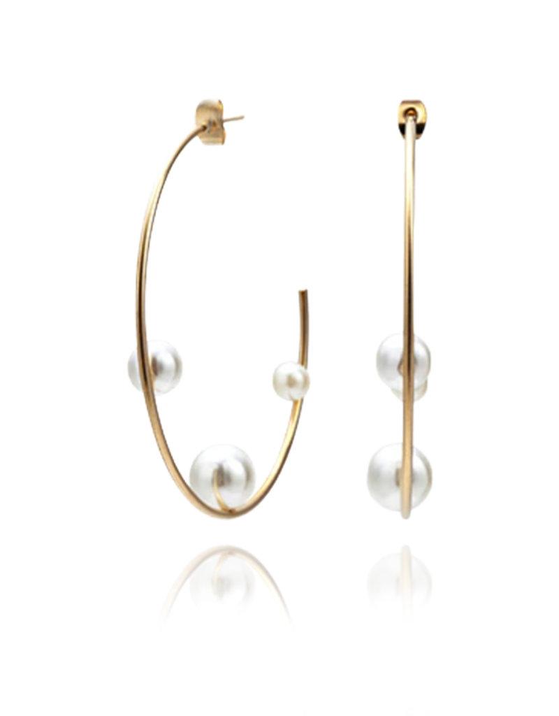 Lakoo Designs Gold Pearl Hoops