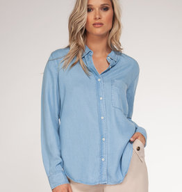 Black Tape Light Blue Tencel Shirt