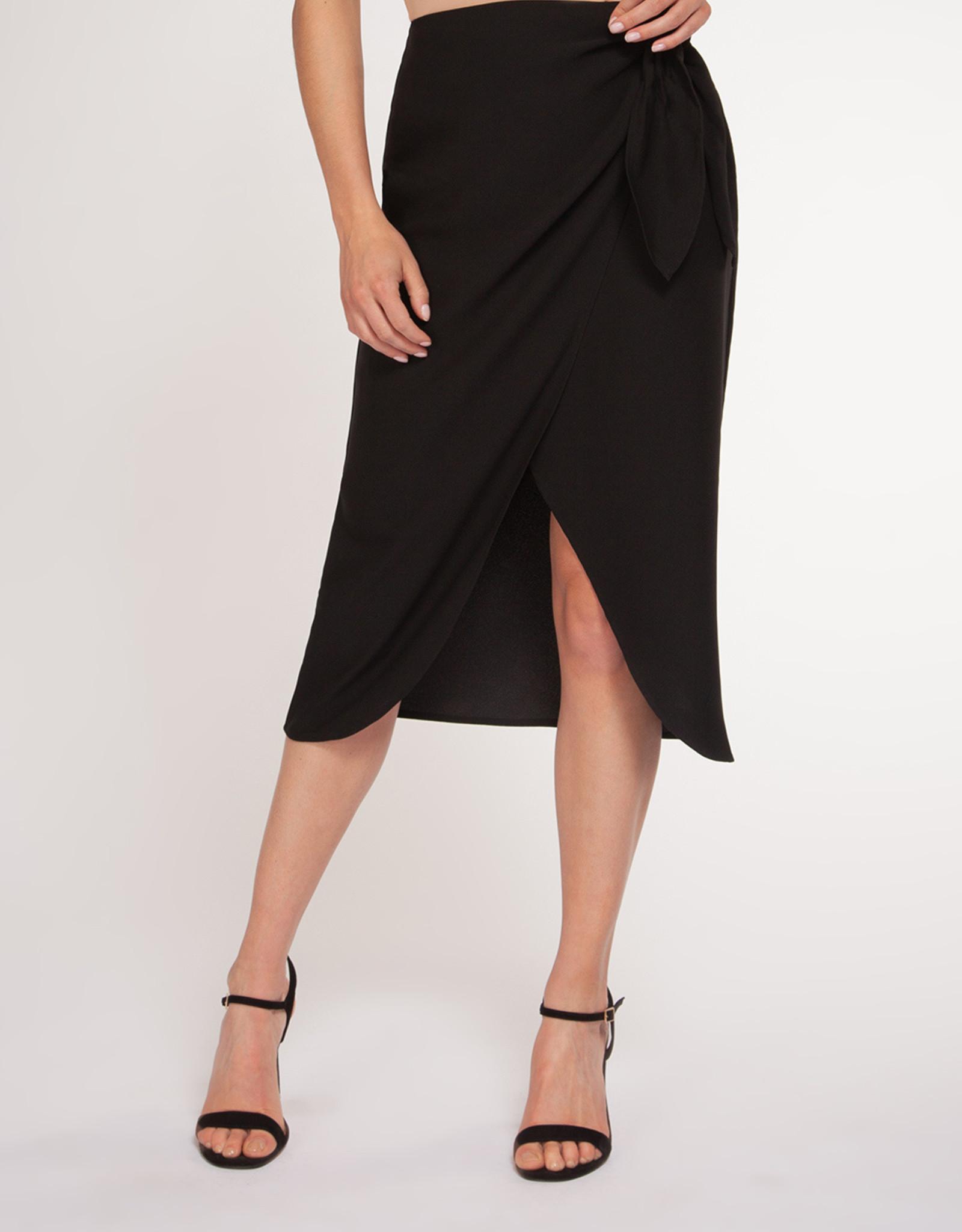 Black Tape Faux Wrap Skirt