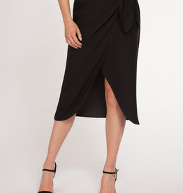 Black Tape Faux Wrap Skirt