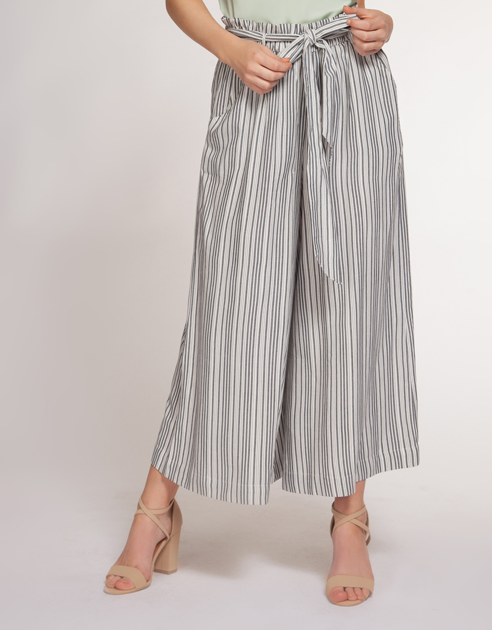 Dex Distressed Black/Stripe Pants