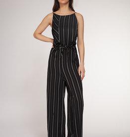 Dex Black Thin Stripe Jumpsuit