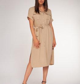 Black Tape Tan Button Down Dress