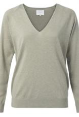 Yaya Green V Neck Sweater