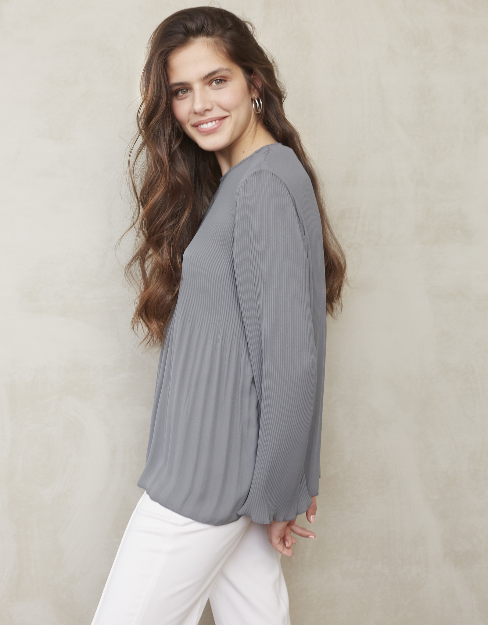 Yaya Blue Grey Pleated Top