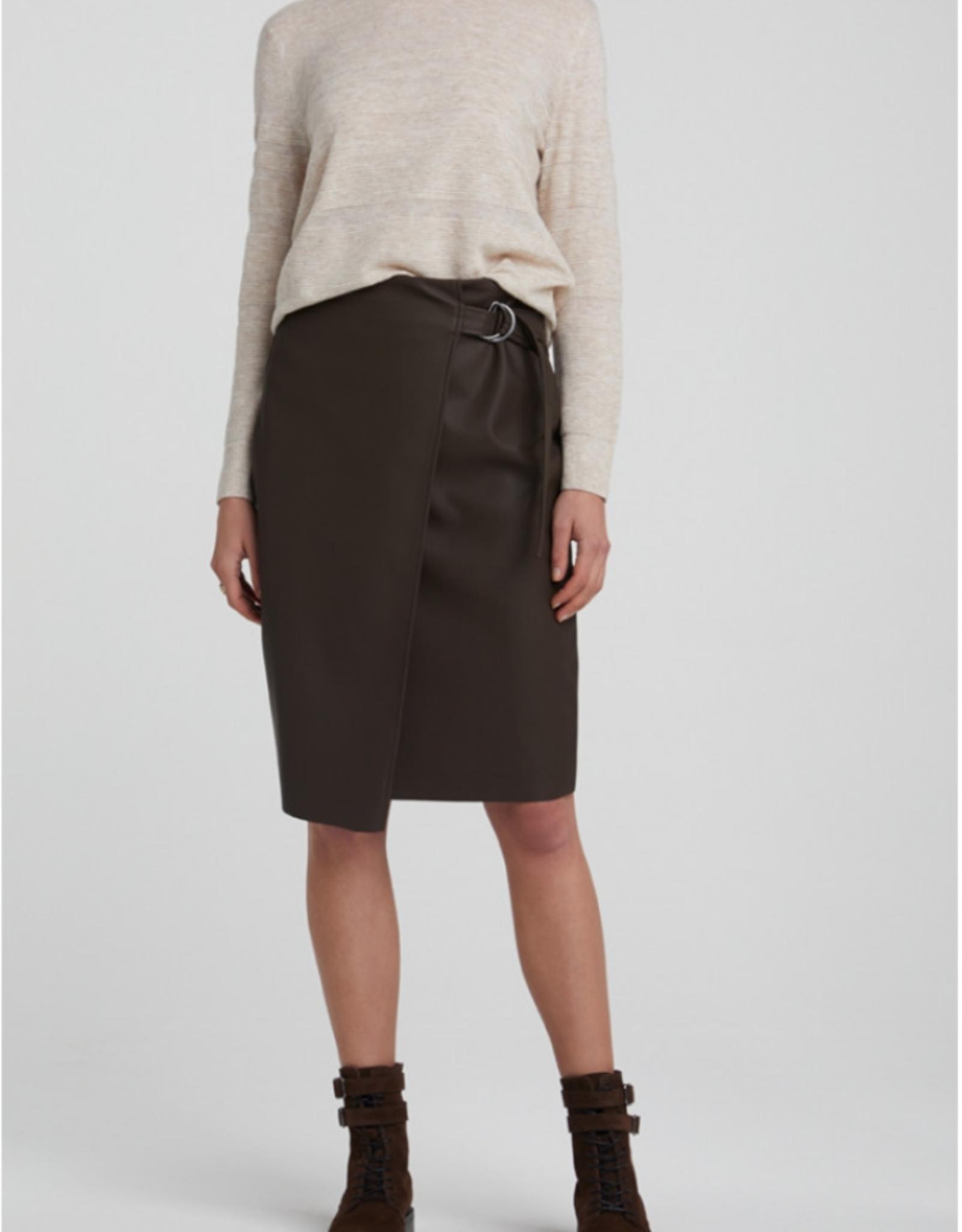 Yaya Faux Leather Wrap Skirt