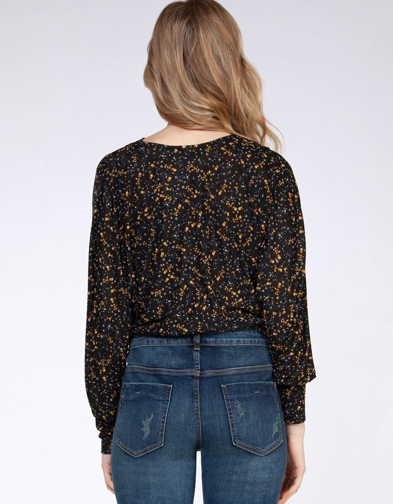 Dex Black/Marigold Floral Top