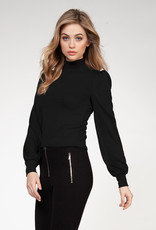 Dex Black Puff Shoulder Top