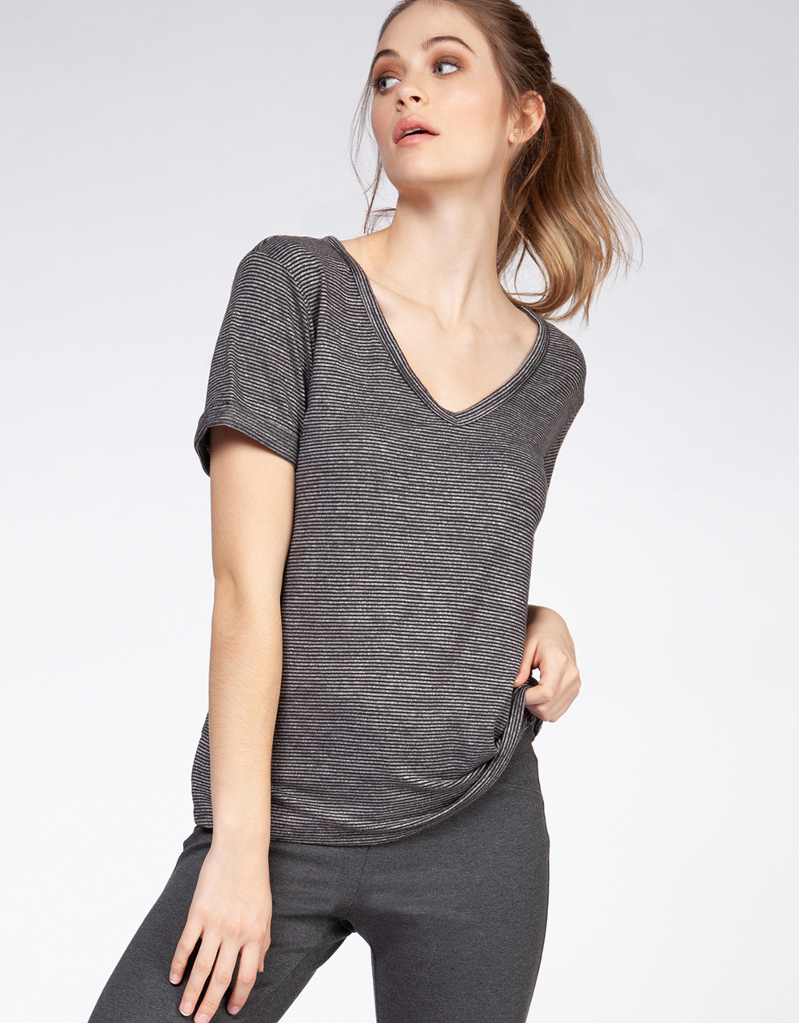 Dex Grey Stripe V-Neck Tee