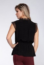 Black Tape Black Satin Dots Lace Wrap Top