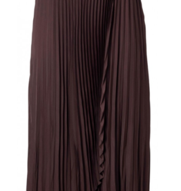Yaya Satin Pleated Wrap Skirt Eggplant