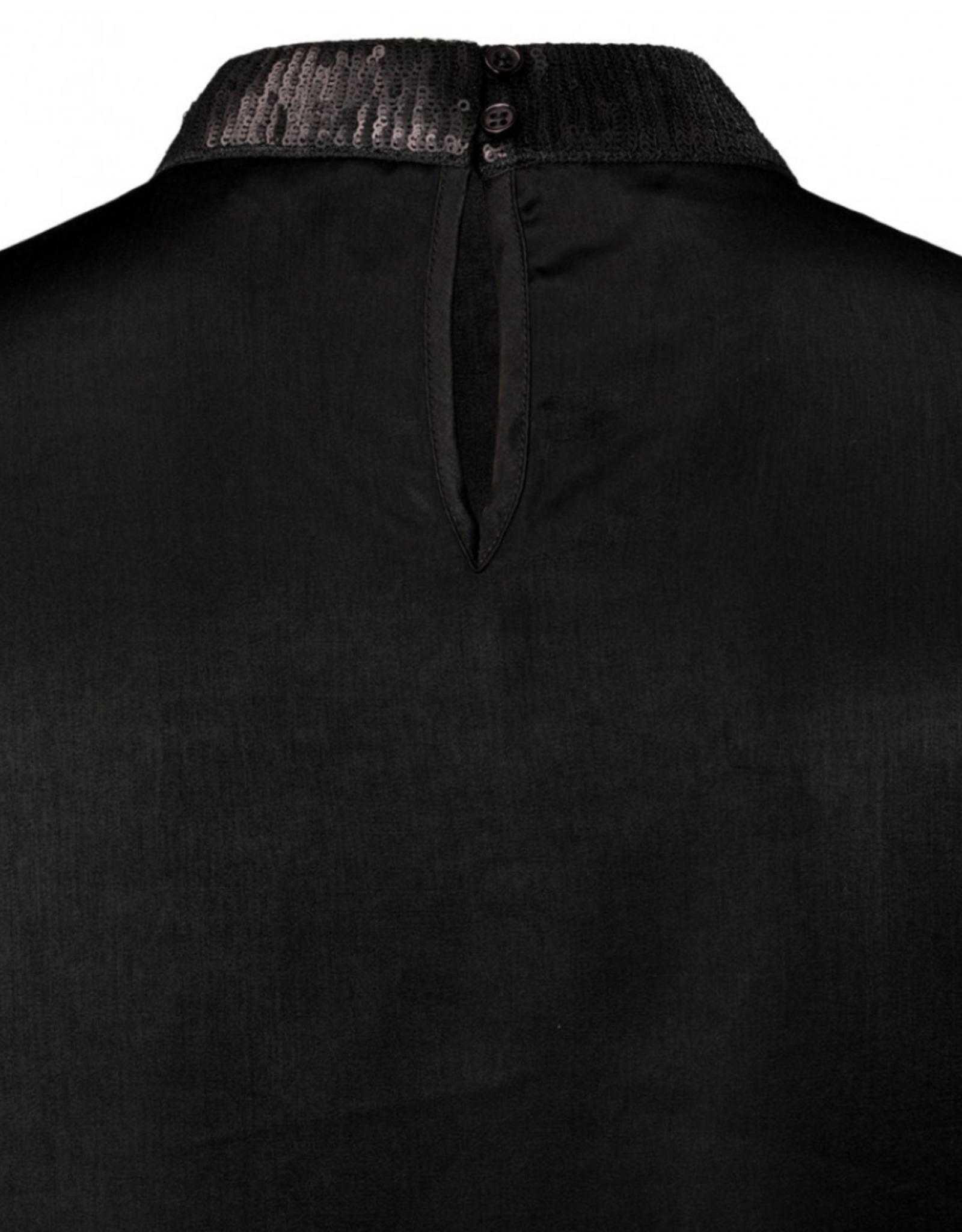 Yaya Satin Puff Sleeve Top Black