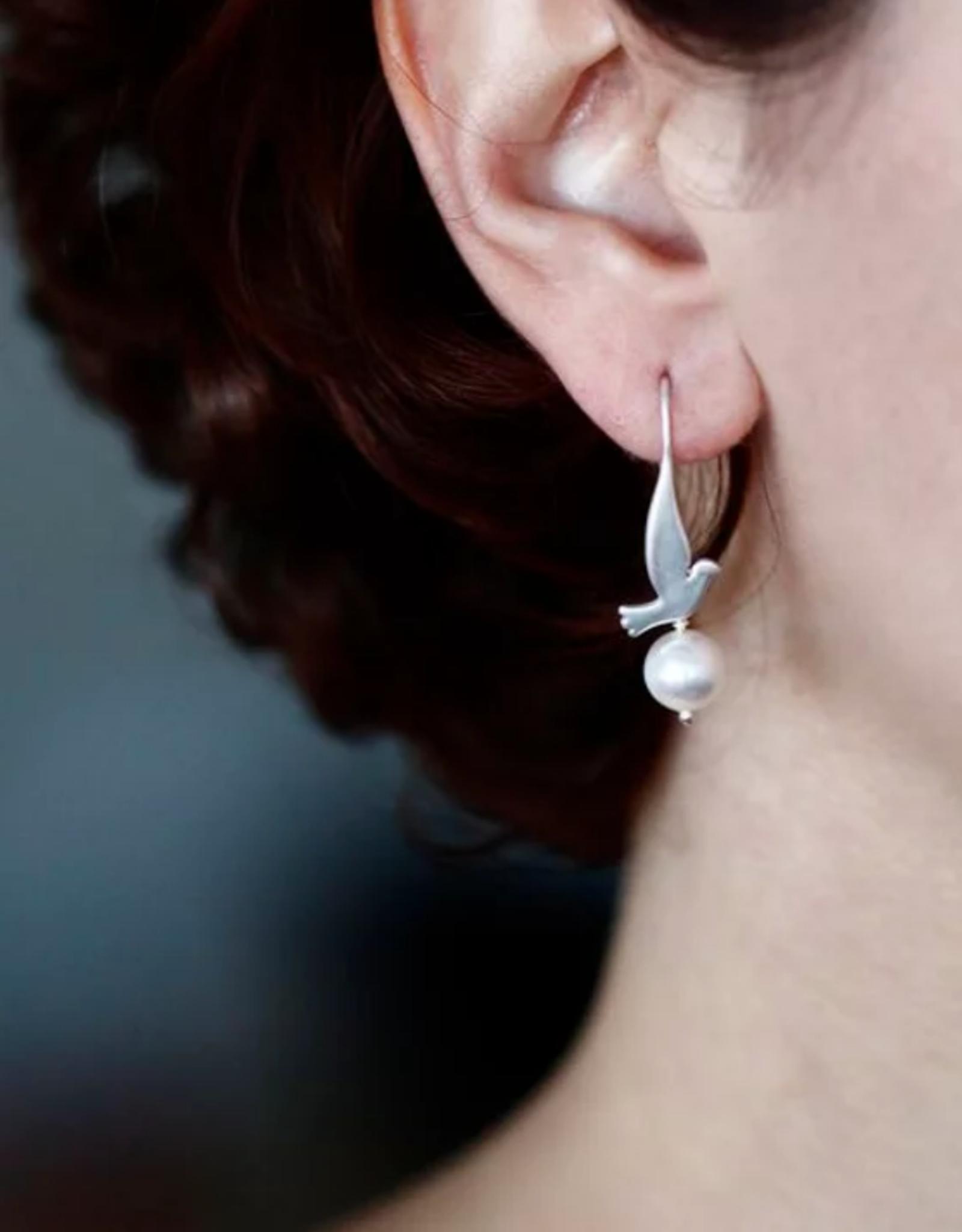 Lakoo Designs Silver Bird Pearl Earrings